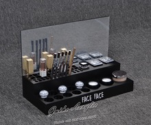 GH-SSBS01 Customized logo 2 layer small acrylic makeup cosmetic display rack stand with silver mirror backboard