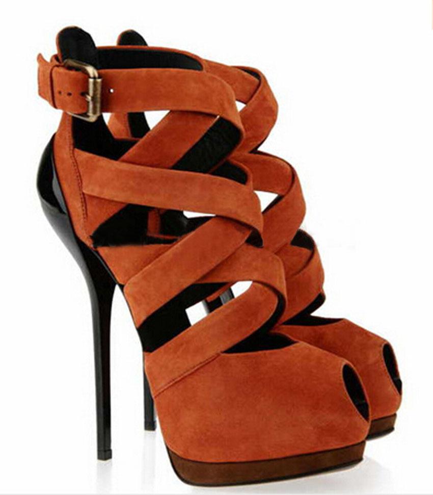 d8a53ba79 2015 newest design peep toe brown suede leather high platform sandals ankle  strap bandage high heel