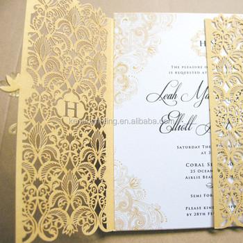 champagne gold laser cut wedding invitation card plastic wedding