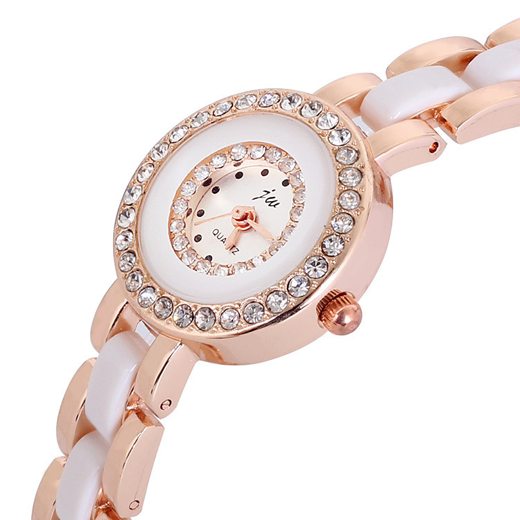 Hot Sale Popular Rhinestone Watches Women White Rose Gold Brand Watches Quartz Lady Fashion Wristwatch Student Best Gift Watches