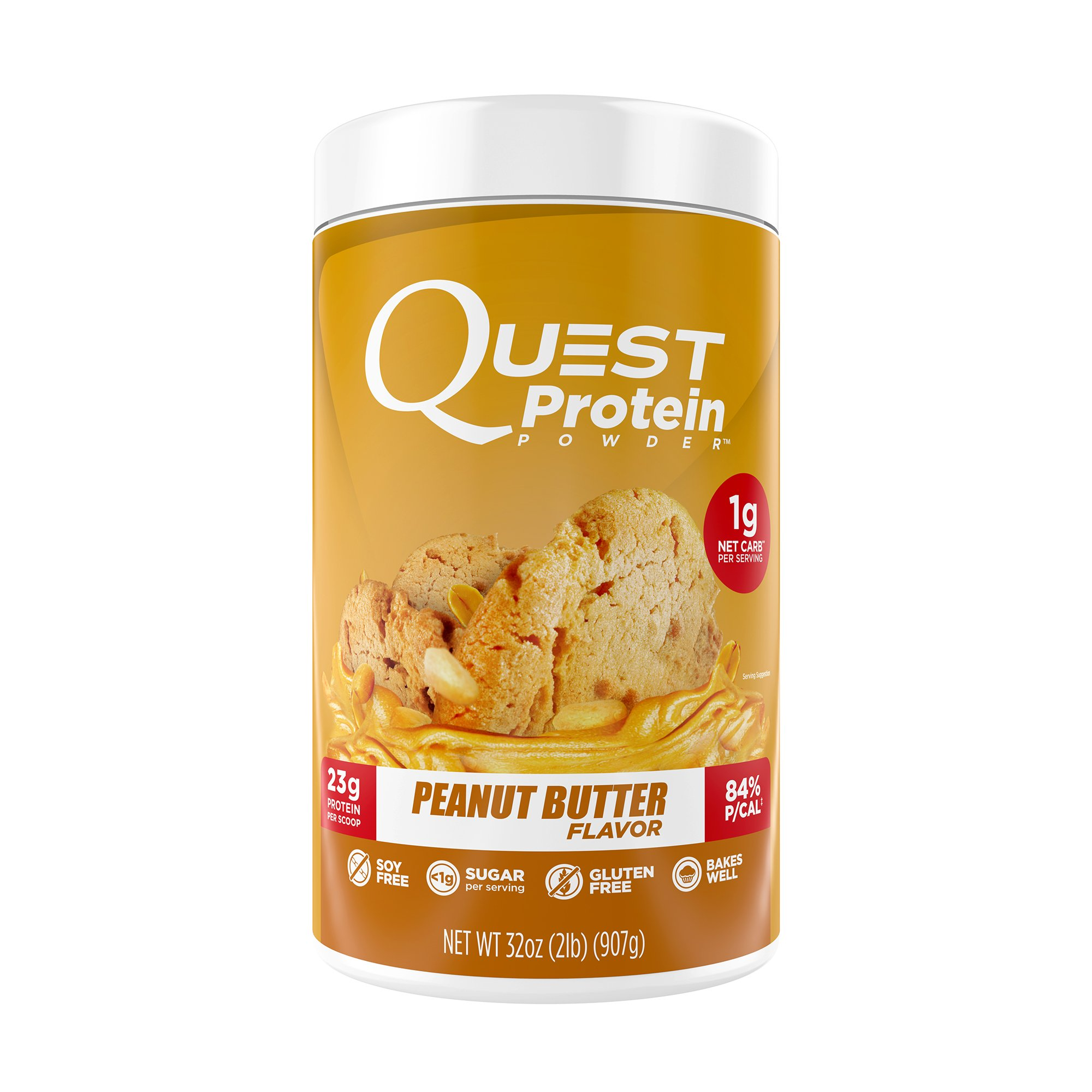 Quest Nutrition Protein Powder, Peanut Butter, 23g Protein, 0g Net Carbs, 84% P/Cals, 2lb Tub, High Protein, Low Carb, Gluten Free, Soy Free, Packaging May Vary