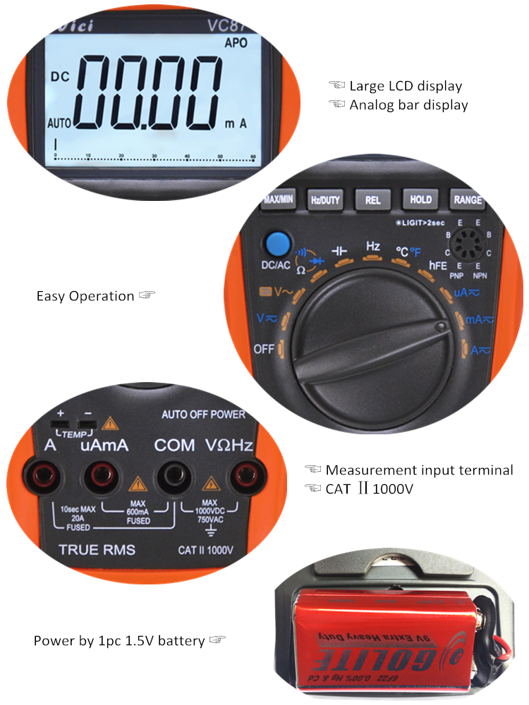 VC87 Electrical measuring instrument portable multimeter manufacturer