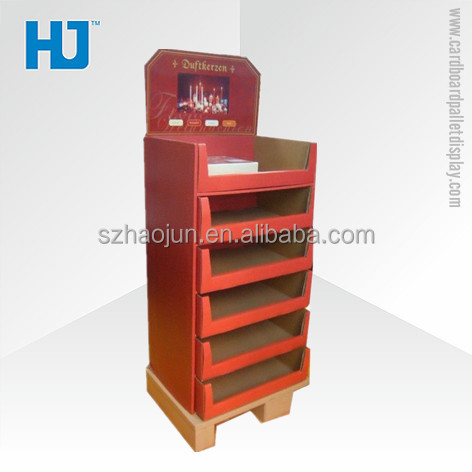 Perfume candle retail corrugated display for hot sales cardboard recycle display shelf