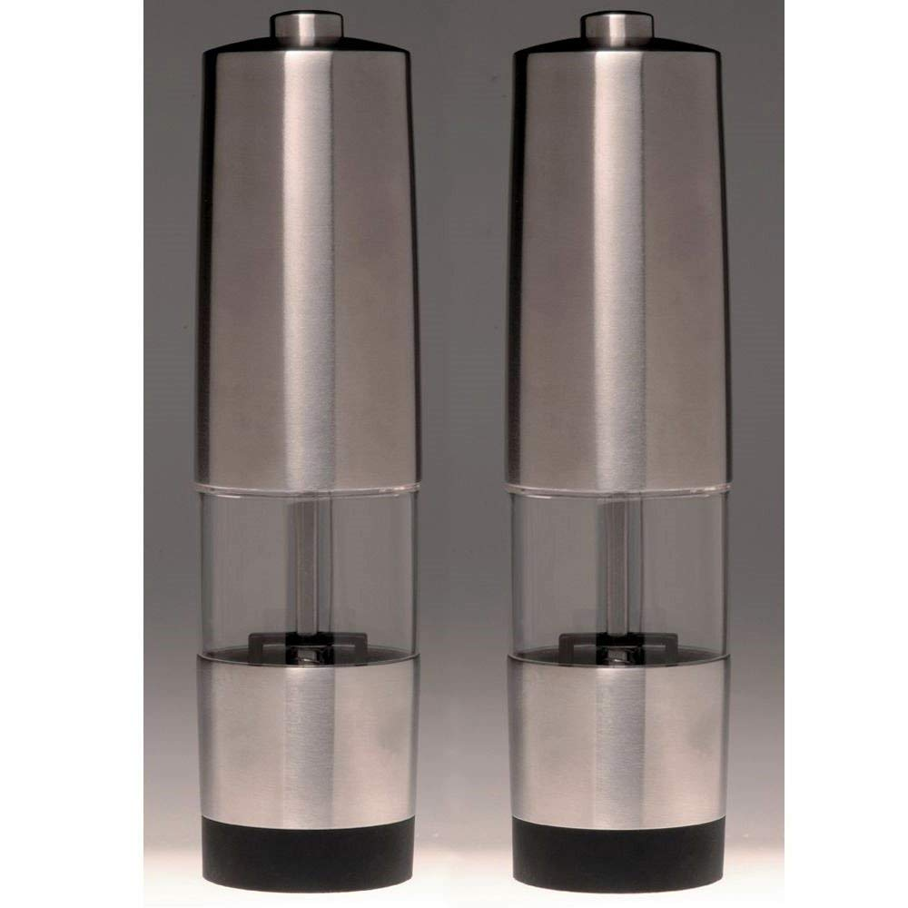 Salt And Pepper Shaker Set. Best For Restaurant, Cafe, Dining Room, Home Kitchen Table Kit. Steel And Glass Electric Mill Set. Stainless Steel Construction.