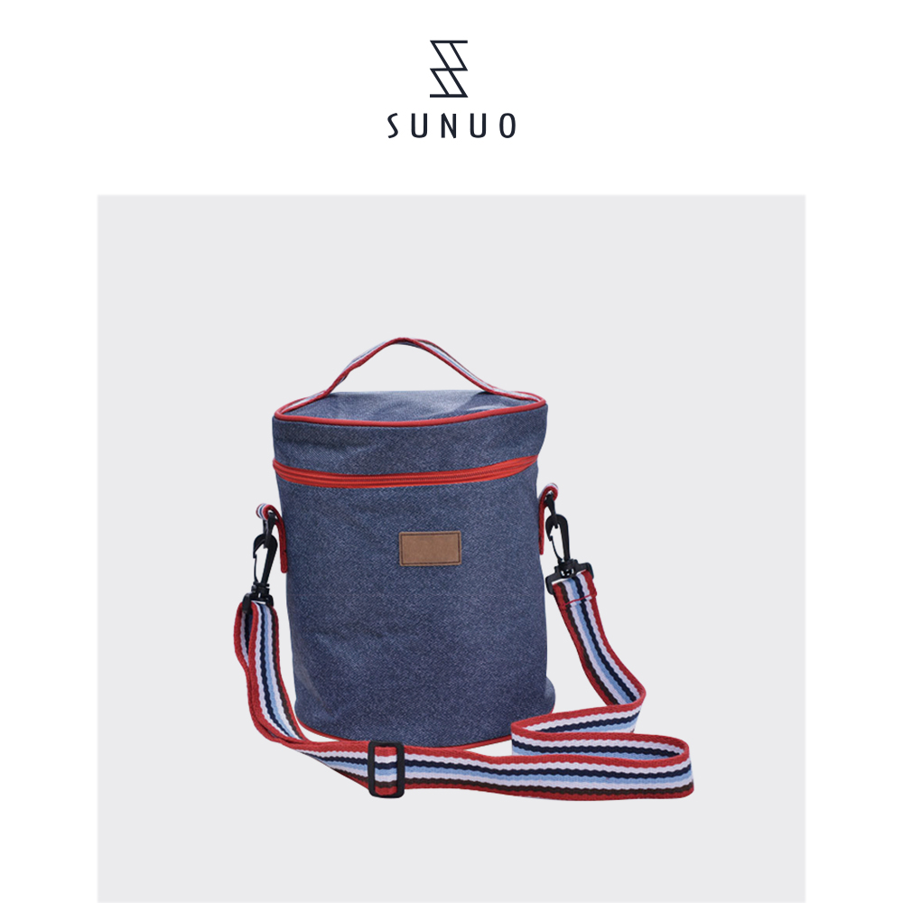 Denim Blue Round Cooler Bag For Lunch Carrying Fashion Shopping Bag And Picnic Bag