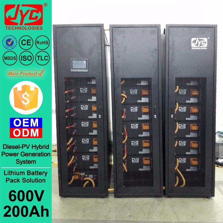 600V 200Ah BMS and LiFePO4 Prismatic cell Battery Pack Bank use for Norway Diesel-Solar Hybrid Power Generation System