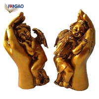 Factory custom made 2018 gold sleep figurine baby statues resin angel for home decor