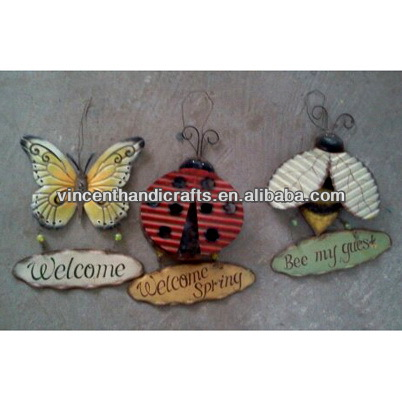Decorative vintage metal butterfly, metal insects welcome sign