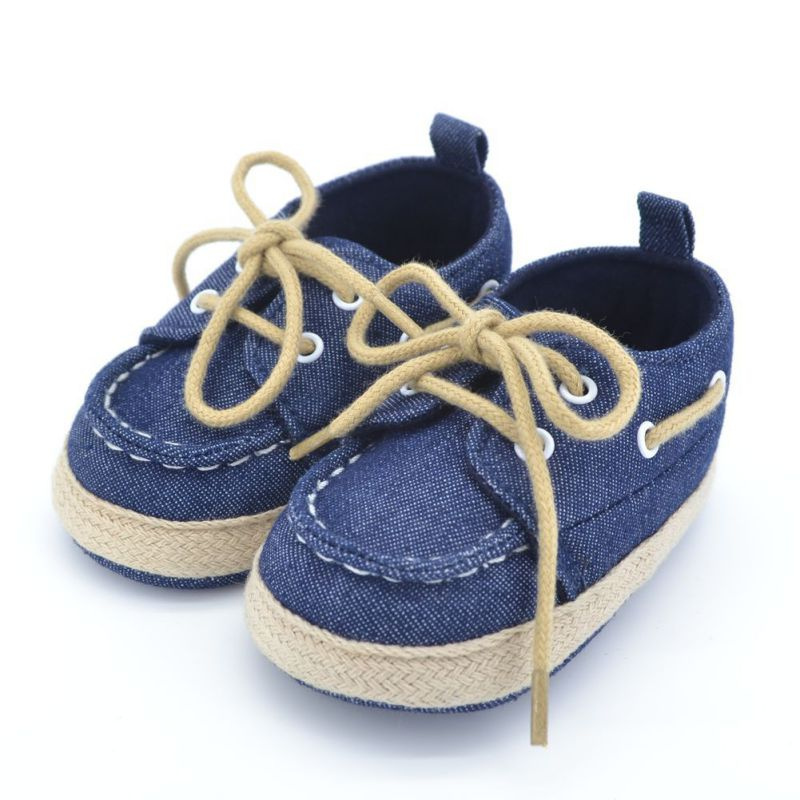 Toddler First Walkers Cotton Canvas Shoes Infant Sneaker Soft Bottom Baby Crib Shoes Lace 1 3Y