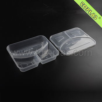 3 Compartments Plastic Lunch Box Disposable Food Packaging Container