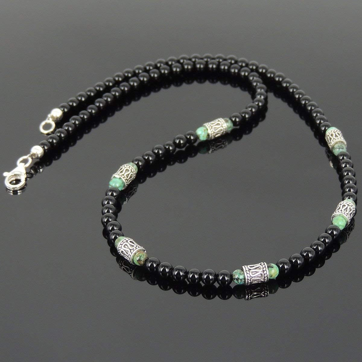 Men and Women Necklace Handmade with 4mm Bright Black Onyx African Green Turquoise Healing Gemstone and Genuine 925 Sterling Silver Beads & Clasp