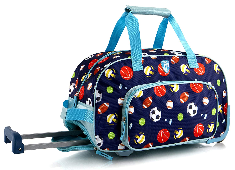 Get Quotations · Kids 18 Inch Rolling Duffel Bag Shoulder Bag - Sports   Blue  2a5a647275d5e