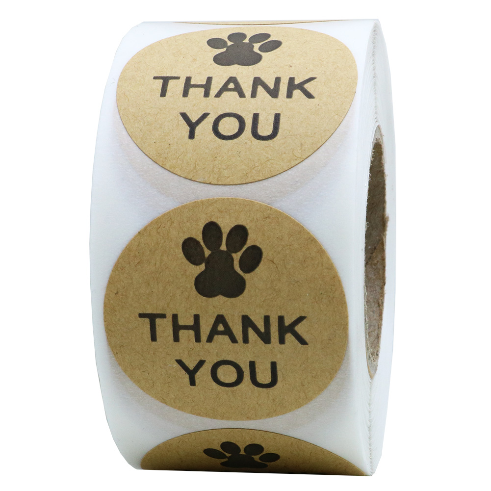 "Hybsk Kraft Paw Print Thank You Stickers Dog Paw Print 1.5"" Round Thank You Labels"