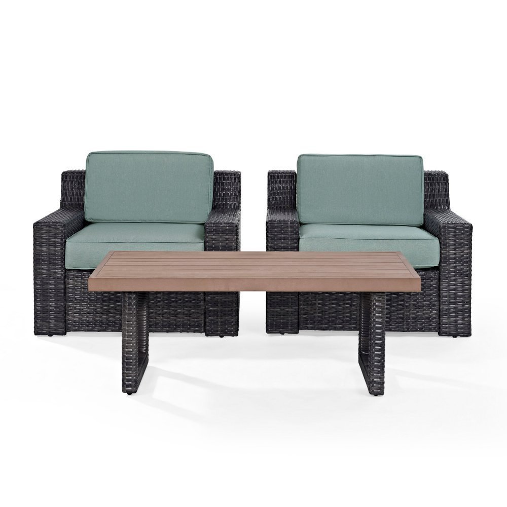 Crosley Furniture KO70099BR Beaufort 3-Piece Outdoor Wicker Seating Set with Mist Cushions-Brown