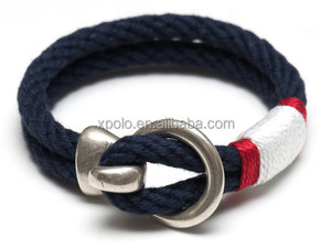 Fashion Nautical Rope Silver Hook Clasp Bracelet