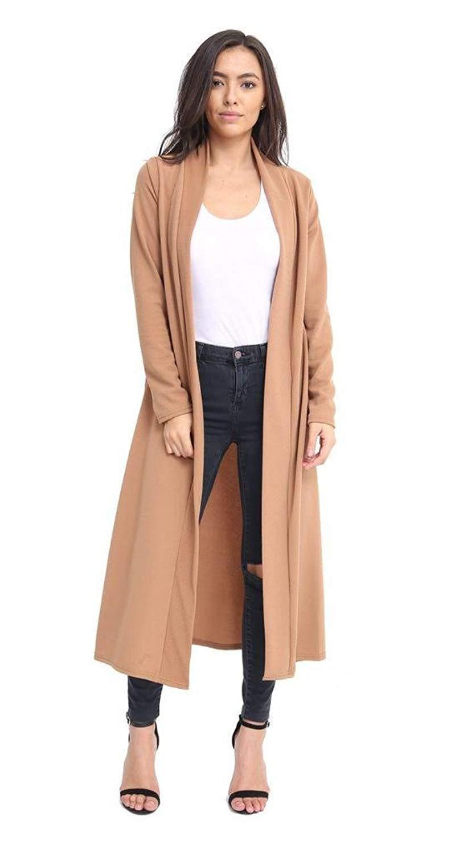 Rimi Hanger Women's Plain Long Sleeve Crepe Maxi Cardigan Sweater (S,M,L,XL,XXL,3XL)