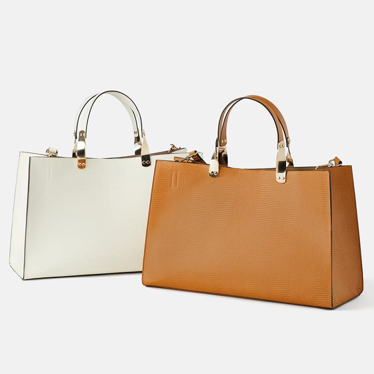 حقيبة يد أنيقة من الجلد بتصميم مستطيل ومطبوع على شكل حيوانات للنساء
