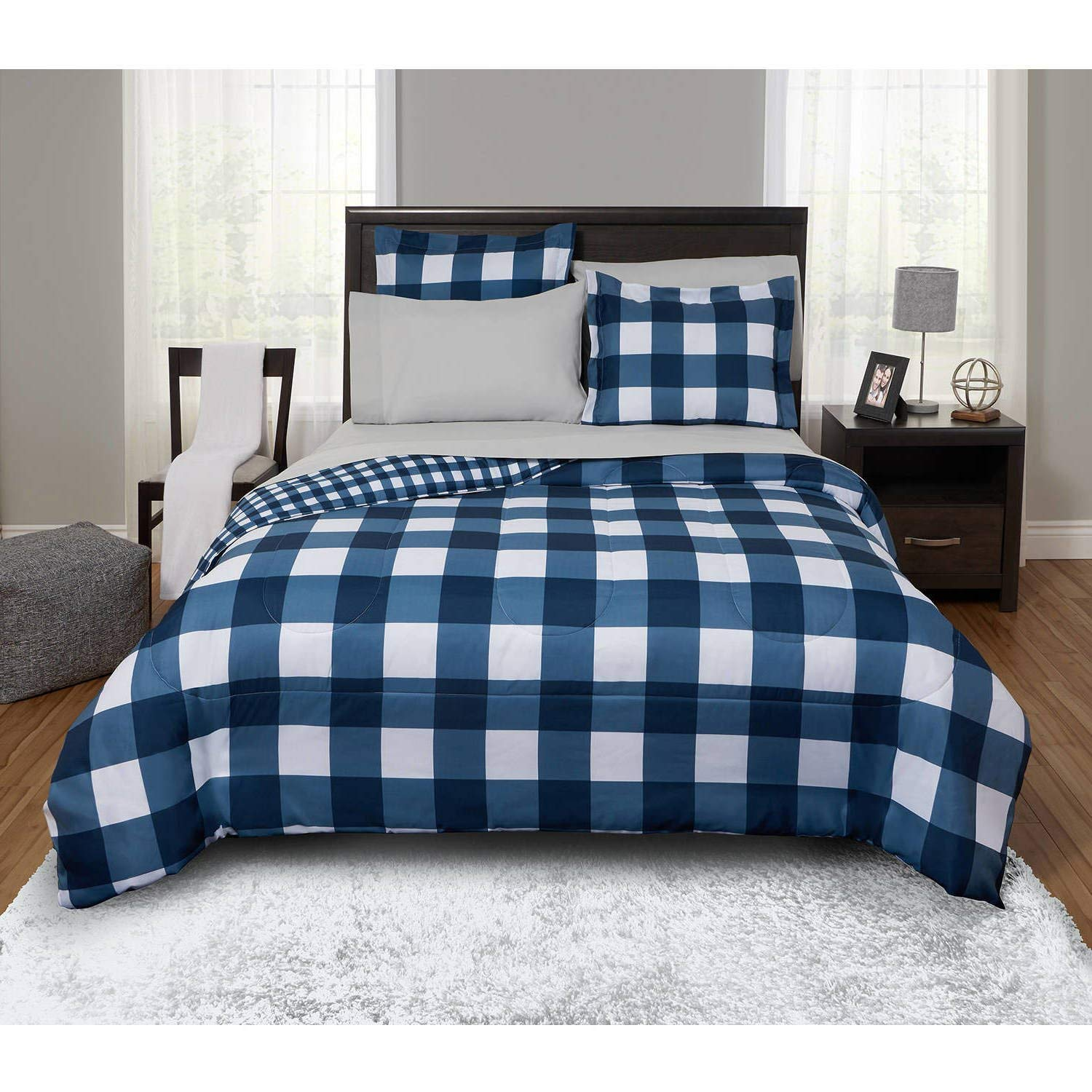7 Piece Navy Plaid Comforter Queen Set, Blue Lodge Cabin Themed Bedding Checked Pattern Bed In Bag Madras Plaid White Tartan Checkered Lumberjack Design Glen Check Horizontal Vertical Stripe Polyester