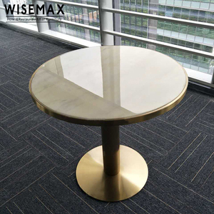 Modern table restaurant luxury brushed brass gold and round real marble top dining table