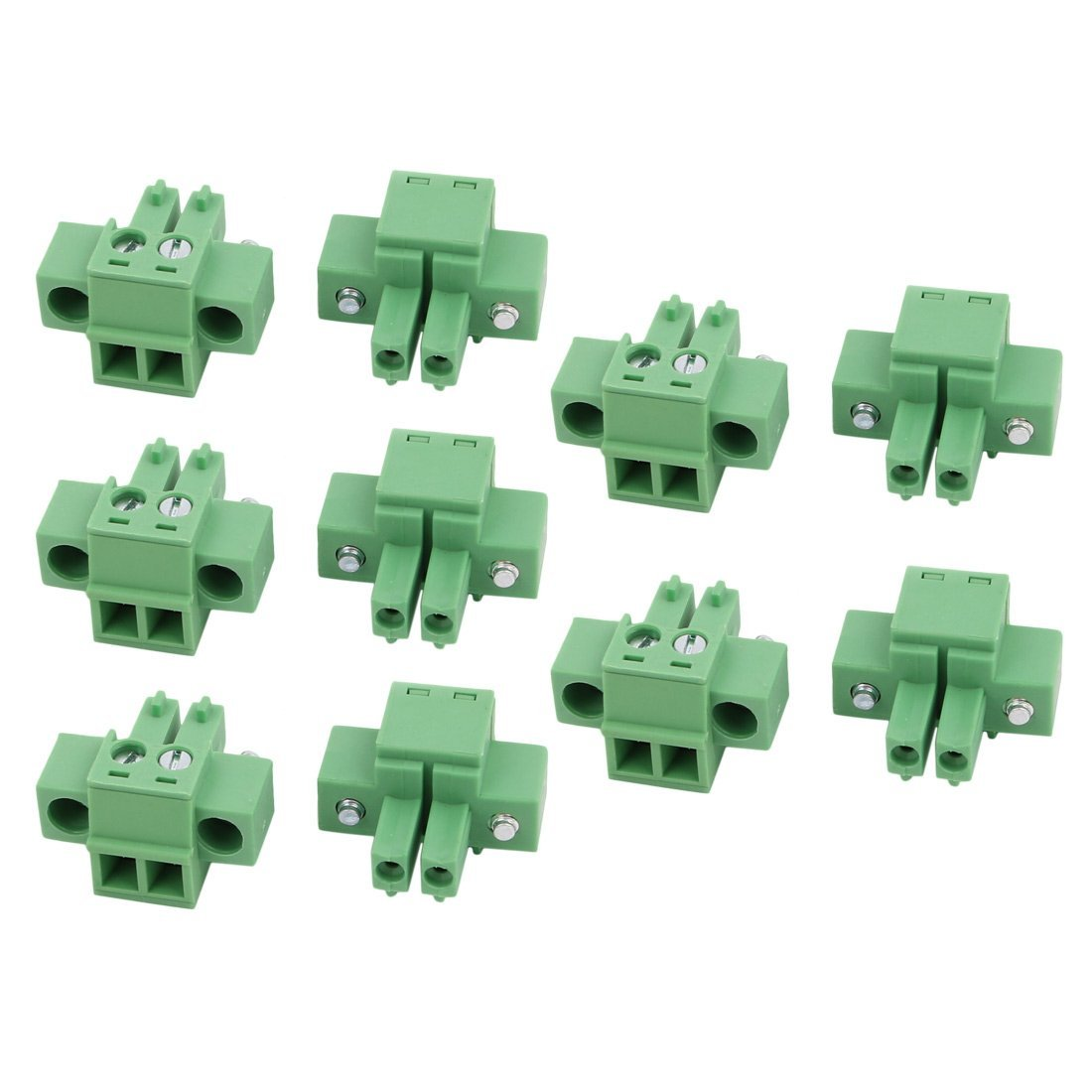 uxcell 10 Pcs AC 300V 8A 3.81mm Pitch 2P Terminal Block Wire Connector for PCB Mounting