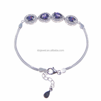 New Arrival Solid 925 Sterling Silver Purple Amethyst Bracelets For Women Purple Stone Jewelry DR032741B-6.9g