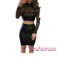 Latest Arrive Fashion Women Sexy Black Mesh Leather Style Two Piece Dress