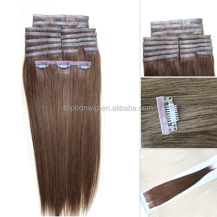 Wholesale double weft clip in human hair extensions
