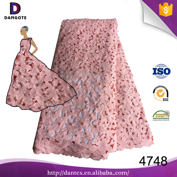 China supplier african bridal embroidery beaded textile swiss french tulle lace dress fabric with beads