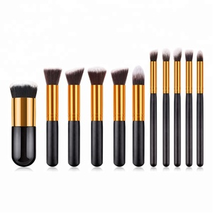 Stock black gold small fat pier foundation brush 11pcs kabuki style vegan makeup brush set