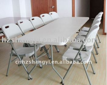 8ft Garden Furniture Plastic Restaurant Folding Tables And Chairs Set
