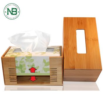 Custom Bamboo Small Mini Por Container Paper Tissue Box Cover Holder