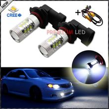 8000K Light-Blue CRE'E 9005 HB3 H10 LED Lamp Light Bulb High Beam/Daytime Running Lights/Fog Lamps + Error Free Canbus Decoders