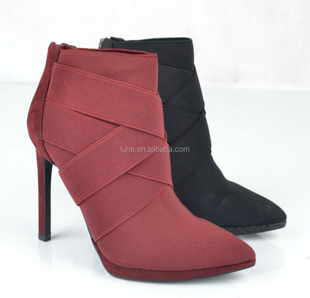 Sexy ladies ankle boots 2015 pointed toe spike high heels platform burgundy ankle boots