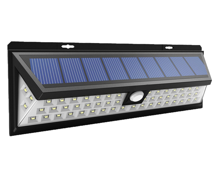 High lumen outdoor waterproof ip65 wide angle 54 led solar light with sensor