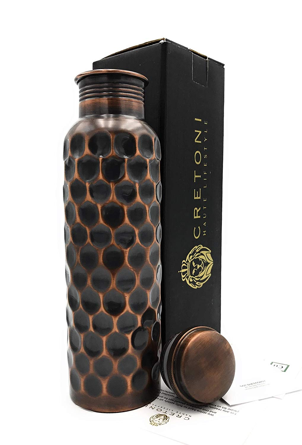 CRETONI Antique-Series Pure Copper Water Bottle : Honeycomb Straight Leak Proof Design : Perfect Ayurvedic Copper Vessel for Sports Natural Health Benefits Yoga 900 Milliliter//30 Ounce Fitness