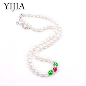 YIJIA Pearl Necklace Women Necklace Freshwater Classic Agate Costume Jewelry Long Pearl Necklace 925 Sterling Silver