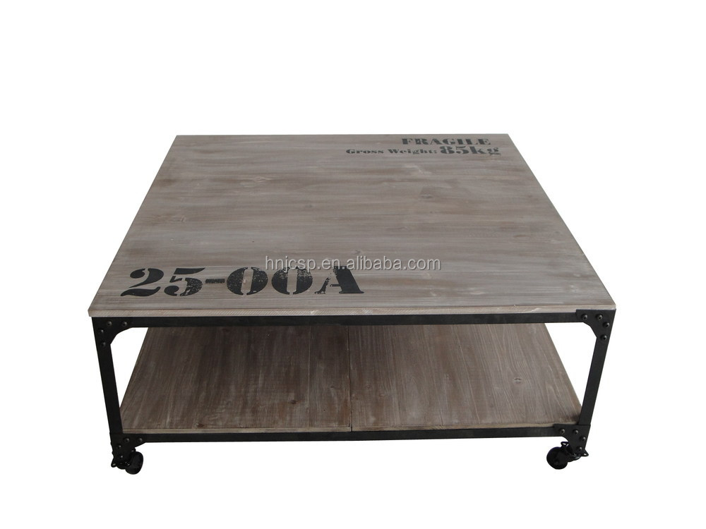 Decorative Solid Wood Kd Square Coffee Table With Wheels