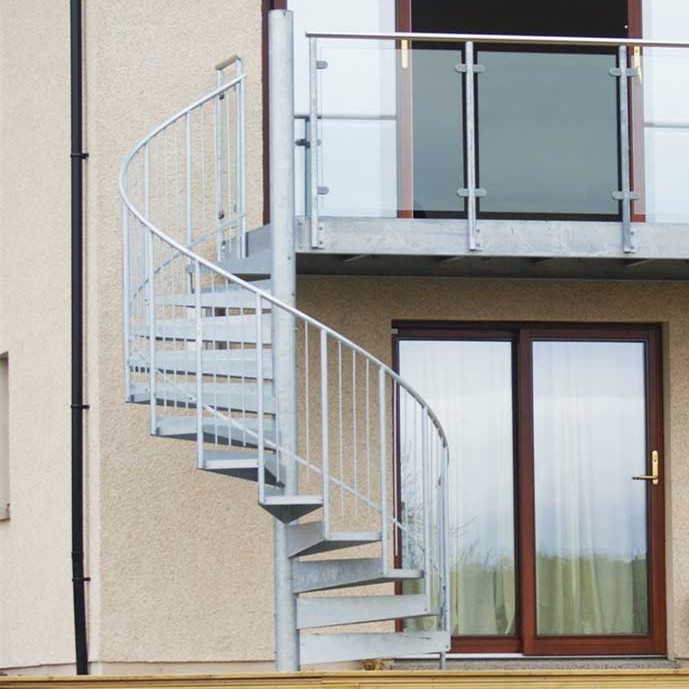 Outdoor metal prefabricated galvanized steel spiral stairs for Pre made spiral staircase