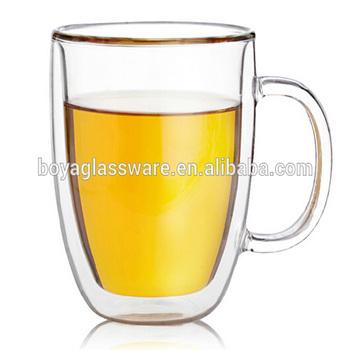 350ml 475ml Double Wall Glass Coffee Mug With Handle Buy