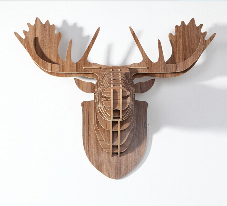 Nordico Diy Wooden Deer Head Hanging Wall Decor Europe Manualidades Moose Ornament For Madeira Wood Crafts Home Decoration