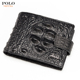 Drop shipping promotion high quality tactical durable men genuine leather crocodile wallet