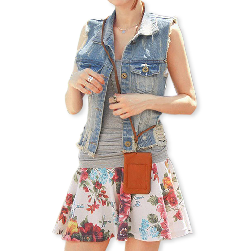 New Women Hole Ripped Denim Vest Frayed Washed Waistcoat 2015 Spring Ladies Vintage Casual Breasted Pocket Jacket Veste Femme