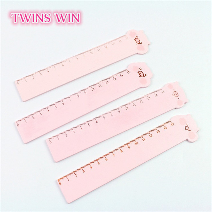 2018 New cute kawaii stationery magic ruler cartoon pig pink color wooden ruler 15cm for kids