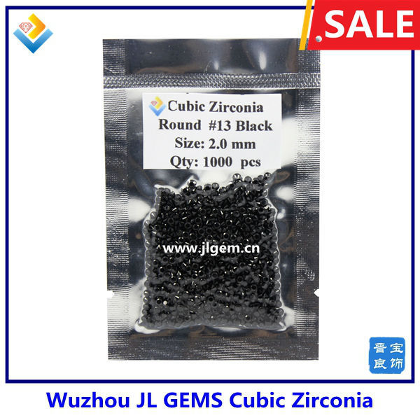 2mm Wholesale Round Black CZ Gemstone with AAA