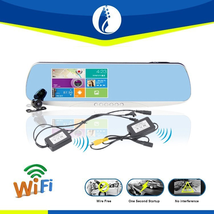 Wireless Wire Free Back Up Rearview Camera Mirror Car dvr with GPS Navigation