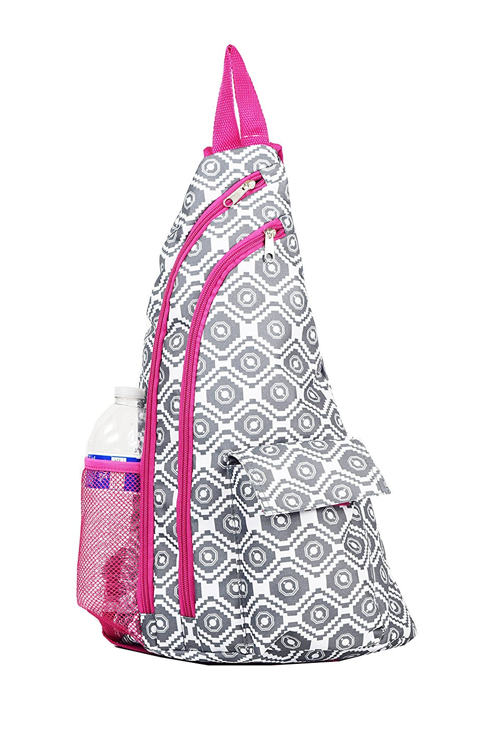 Get Quotations · BB-18-GREY-P Sling Backpack Geometric Pattern Design Grey  pink 5ba1d3aff521f