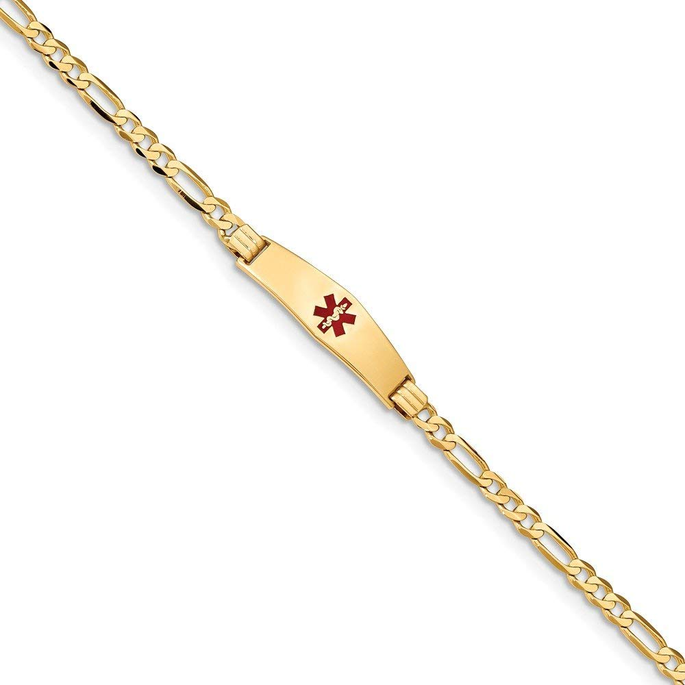 Best Birthday Gift 14K Medical Soft Diamond Shape Red Enamel Figaro ID Bracelet