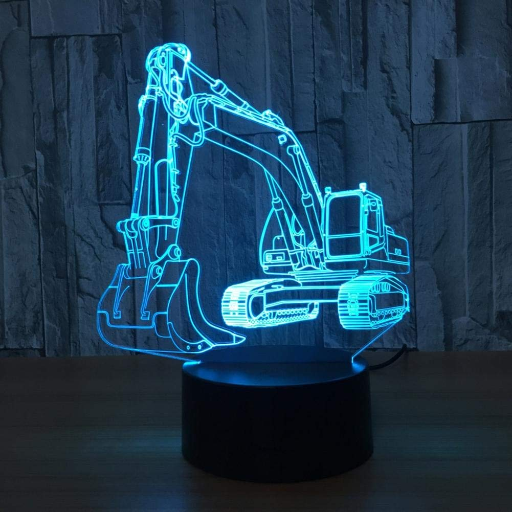 OOFAY LIGHT 3D LED Night Light Excavator Optical Illusion Touch 7 Colour Changing with Acrylic Flat, ABS Plastic Base, USB Charger Table Desk Bedroom Decoration Light