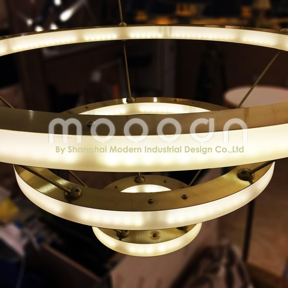 Moderne opknoping gouden grote messing koper art deco cirkel led ...