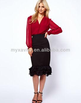 748b2b116 Bright Pencil Skirt With Frill Hem,Magic Wrap Skirt - Buy Tight Pencil ...